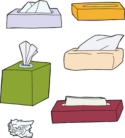 Various types of facial tissue packages on white background