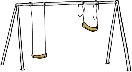 Isolated vandalized swing set over white background Illustration