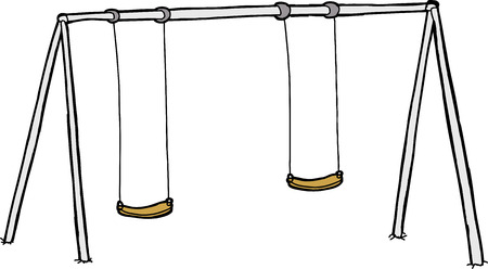 Isolated cartoon swing set over white background