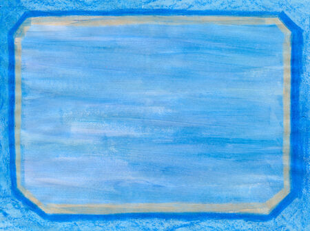 beveled corners: Crayon and tempera blue frame with beveled edges