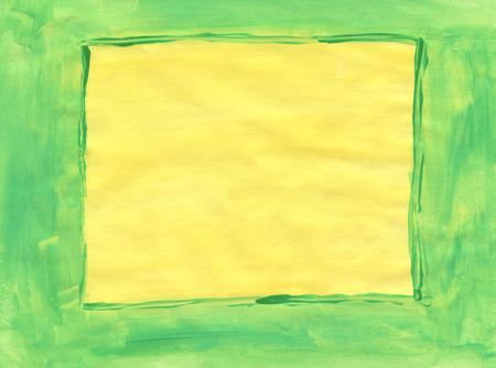 tempera: Yellow and green hand painted tempera empty frame