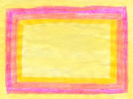 tempera: Rectangular yellow and pink tempera and watercolor frame