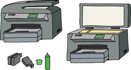 All-in-one printer, scanner, copier with ink cartridges Vector