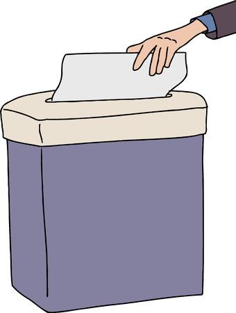 paper shredder: Person sticking paper in isolated paper shredder Illustration