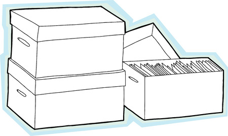 unprinted: Three boxes with documents with blue background Illustration