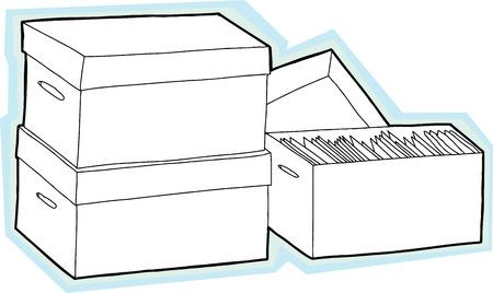 unprinted: Tres cajas con documentos con fondo azul Vectores