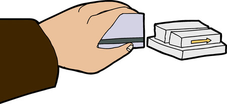 Isolated hand swiping credit card through metal reader Vector