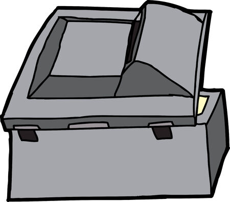 Rear of open black multifunction copy machine Vector
