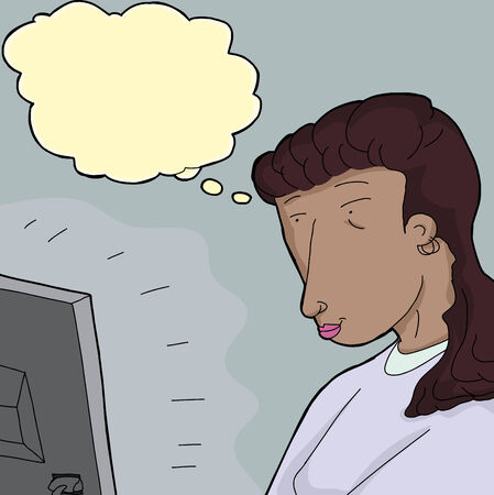 Hispanic woman looking at computer monitor with thought bubble