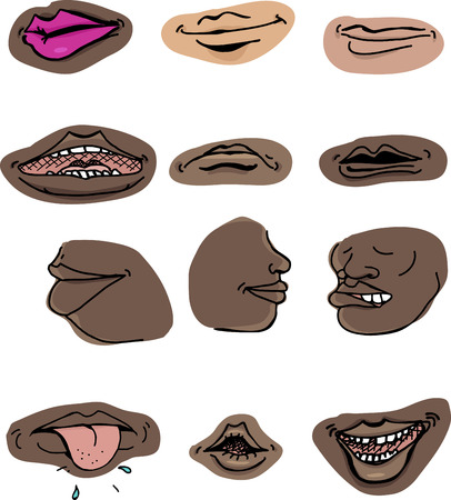 Set of human mouths in various expressions on isolated background Vector