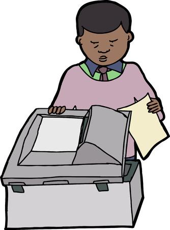 Homme d'affaires noir des copies, scanner multifonction Banque d'images - 26536640