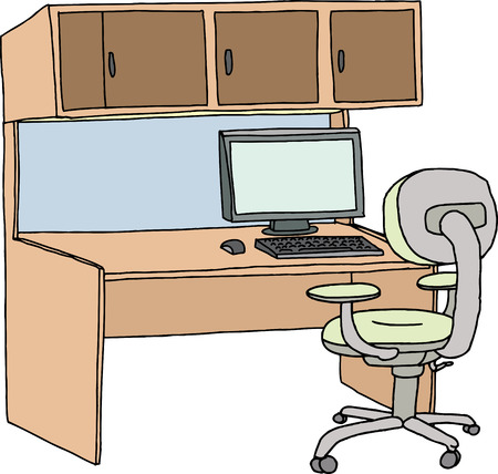 Empty cubicle with chair, computer and mouse on white