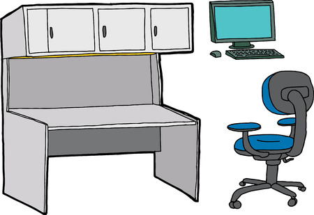 Set of desk, computer and chair for office scene Vector