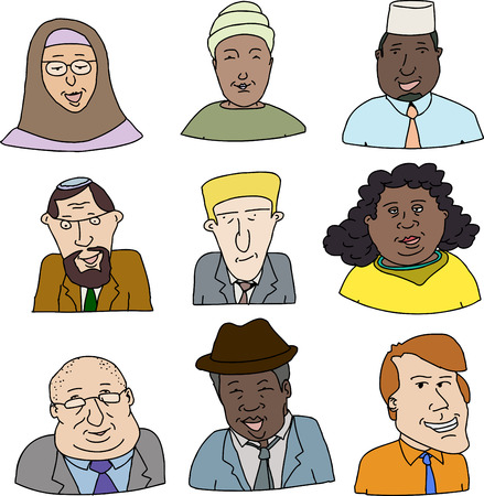 Happy faces of diverse business people over white background Vector