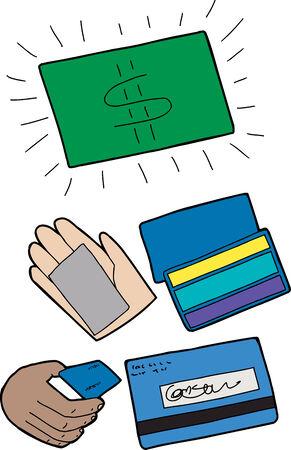 Credit and debit card symbols over white background Illustration