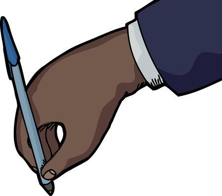 Zakelijke persoon hand met pen schrijven op een witte achtergrond Stock Illustratie