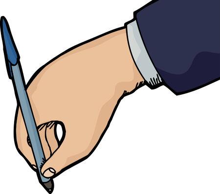 Geïsoleerde hand houden pen schrijven op een witte achtergrond