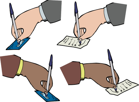 Hands signing checks and receipts over white background