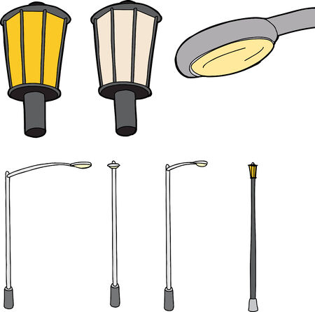 Group of isolated street lights on white background