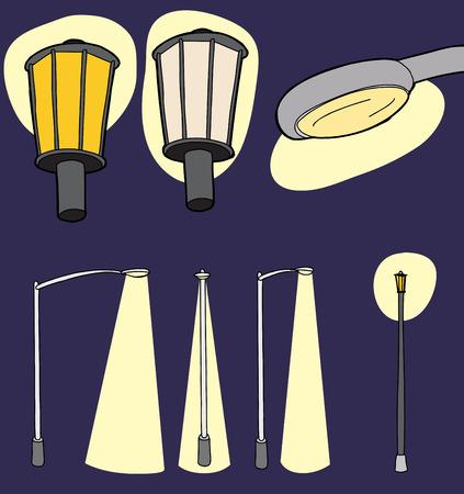street lamp: Modern and vintage street lights with illumination beam