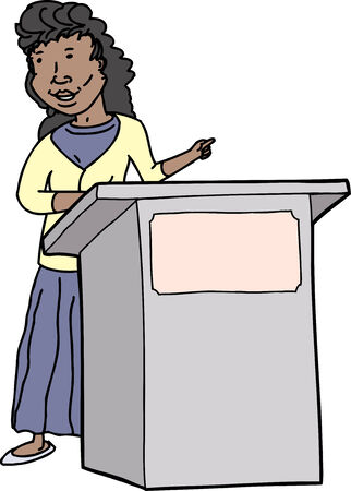 Smiling hispanic woman speaking at lectern on isolated background