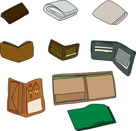 unprinted: Grupo de carteras aislados con dinero en efectivo, llaves y tarjetas Vectores