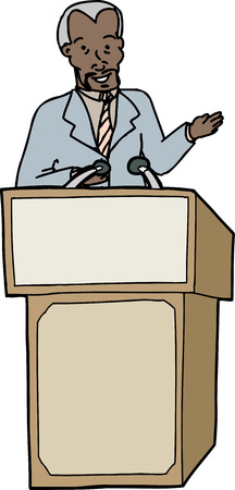 lectern: Middle aged Black business man speaking on isolated background Illustration