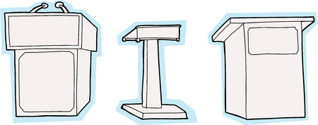 unprinted: Three cartoon lecture stands with blue edges Illustration