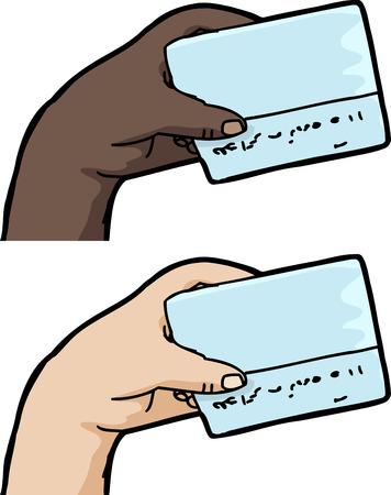 unprinted: Mano que sostiene la tarjeta de cr�dito en blanco sobre fondo blanco aisladas Vectores