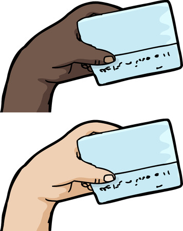 Hand holding blank credit card over isolated white background