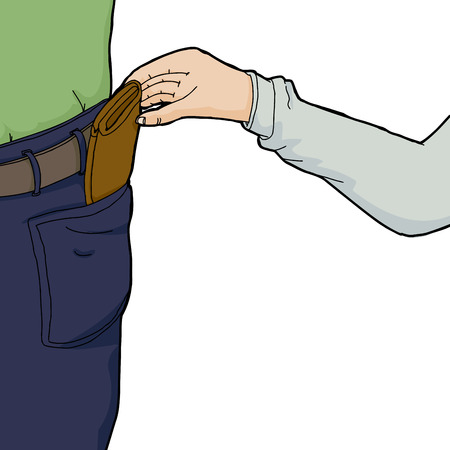 Hand of pickpocket stealing wallet from person Vector
