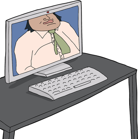 Computer monitor of cropped man on webcam Vector