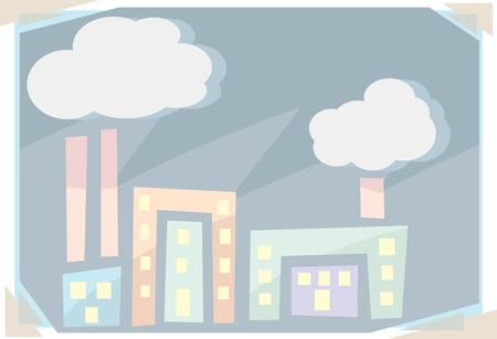 Resumen ilustración de los edificios con las chimeneas y el smog Foto de archivo - 26752906