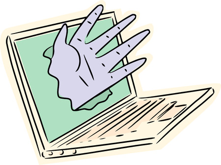 Hand reaching from broken computer screen on white background