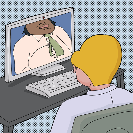 cropped: Cartoon of two business men talking online with computer