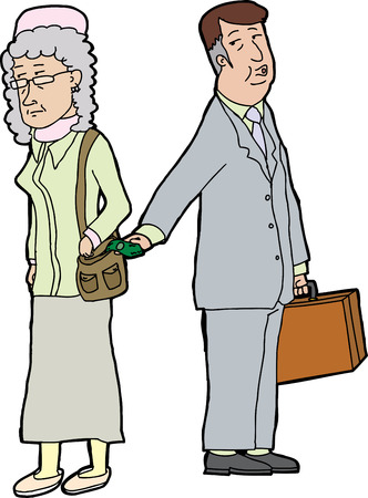 Whistling business man stealing money from elderly woman