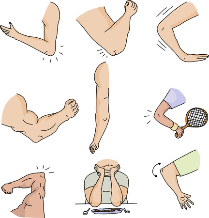 Series of human elbows on isolated white background Illustration