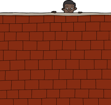 Cute Hispanic boy looking over brick wall Ilustração