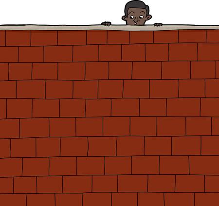 Cute Hispanic boy looking over brick wall Illustration