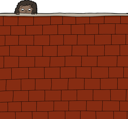 Cute female child looking over brick wall