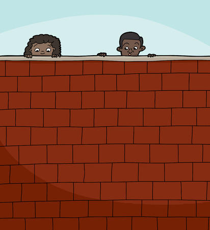 Pair of cute children peeking over brick wall Vector