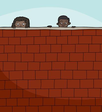 Pair of cute children peeking over brick wall