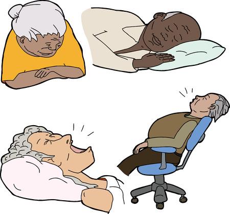 snoring: Various senior adults asleep over white background Illustration