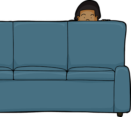One Asian child peeking from behind sofa Vector
