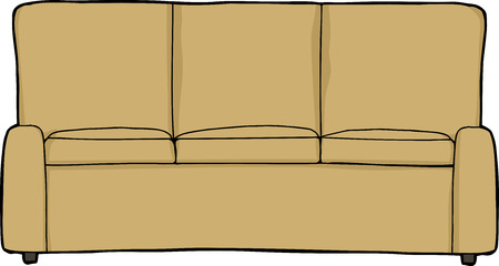 frontview: Isolated cartoon sofa front-view on white background Illustration