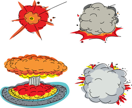 Set of four cartoon explosions over white background Illustration