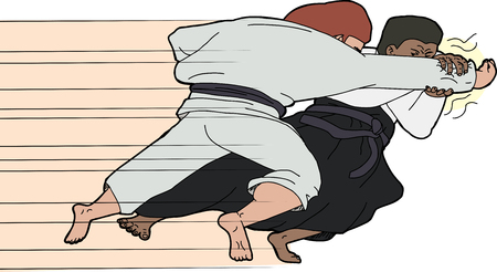 grappling: Aikido martial arts master throwing one opponent
