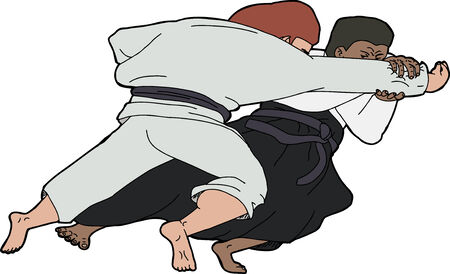 grappling: Isolated martial arts throwing technique over white