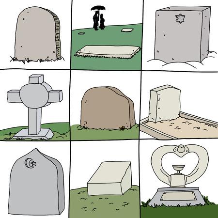 Serie de lápidas de sepulturas seculares y religiosas Ilustración de vector