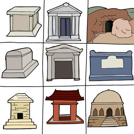 unprinted: Tumbas y mausoleos Dibujado a mano sobre fondo blanco Vectores